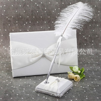 Wholesale Notebook Pen Set Wholesale - New Romantic Wedding Guest Books And Pen Sets Two Pieces Notebook Shining Rhinestone Embedded Fashion Guest Feather Pen and Guest Book Set