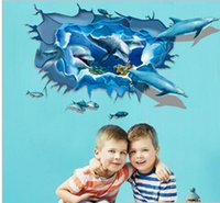 Wholesale Fish Wall Stickers Kids - Newsea fish whale 3D wall stickers for kids room decor DIY PVC removable adhesive bathroom decor Wall Sticker