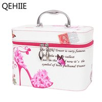Wholesale cute cosmetic packaging - Pu Leather Cute Pattern Cosmetic Case Travel Portable Large Capacity Storage Beauty Box Skin Care Package Organizer Makeup Bag