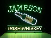Wholesale Irish Bar Signs - JAMESON IRISH WHISKEY Real Glass Neon Light Sign Home Beer Bar Pub Recreation Room Game Room Windows Garage Wall Sign