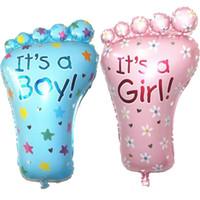 Wholesale Aluminium Feet - 50pcs lot Pink Girl Blue Boy Feet Balloon Baby Cute Classic Toy Foil Balloons Birthday Party Decoration 79*46cm