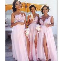 Wholesale Cheap Celebrity Wedding Dresses - High Split Pink Beach Bridesmaids Dresses Sheer Neck Appliqued Chiffon Jewel Wedding Guest Dresses African Celebrity Gowns Cheap Custom 2017