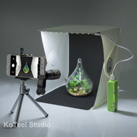 Wholesale Light Tent Box Kits - KoTeel Mini Photography Studio Light Tent Light Room Light Box Kit with LED Lighting, Two Background(Black+White),Cell Phone Lens