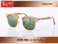 Wholesale Femme Mirror - Luxury half Rimless Sunglasses Women Original Brand Designer Sun glasses Mirror wood sytle Eyewear reflective Lens lunette de soleil femme
