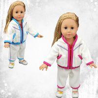 Wholesale Girls Pcs Dress Jacket - 18 Inches LoL Baby Doll Clothes Winter Jacket 2 PCS Set Sport Suits American Girl Baby Doll Dress up Clothes 10 sets Minimum order Free ship