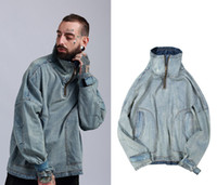 abrigo de la chaqueta de los hombres de jean moda al por mayor-Nuevos hombres de moda Jean Coats cuello alto de gran tamaño suelta abrigo casual azul claro chaquetas de la vendimia