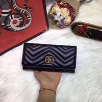 Wholesale Thin Ladies Purses - Marmont women Genuine leather long style zipper cow leather wallet lady fashion thin style purse phone bag discount
