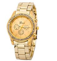 relógio de pulso de casamento venda por atacado-Marca de luxo Genebra Diamante Relógios de Moda de Aço Inoxidável Relógios de Quartzo Causual Vestido de Relógio de Pulso de Presente de Casamento de Natal Assista
