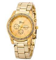 ingrosso orologio da sposa-Marchio di lusso Ginevra Diamond Watches Moda in acciaio inox al quarzo Orologi Causual Dress Orologio da polso di Natale regalo di nozze