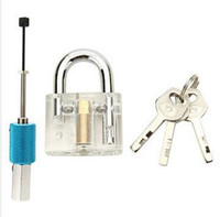 Wholesale disc lock picks - Disc Type Transparent Padlock with Disc Detainer Locksmith Tools Locksmith Practice Training Skill Set