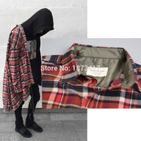 Wholesale Oversized Collar Shirt - Wholesale-NEW justin bieber FEAR OF GOD flannel Scotland grid long sleeve shirts Hiphop extended curved hem oversized Men Cotton shirt