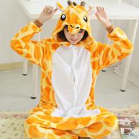 Wholesale Anime Dress Cheap - New Hot Sale Lovely Cheap Kigurumi Pajamas Anime Giraffe Cosplay Costume Unisex Adult Onesie Yellow Dress Sleepwear