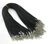 Wholesale diy cord - 100pcs 1.5mm Black Wax Leather Snake chains bracelets Beading Cord String Rope Wire 45cm+5cm Extender bracelet ChainLobster Clasp DIY