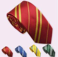 Wholesale harry potter ties - 4 Colors Harry Potter Neck Ties Fashion Tie Necktie College Style Tie Harry Potter Gryffindor Series Gift Costume Accessories CCA7069 100pcs
