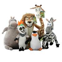 zebras plüsch großhandel-Großhandel Madagaskar Plüschtiere Löwe Zebra Giraffe Affe Pinguin Nilpferd 6 teile / satz Kinder Geschenke Freies Verschiffen