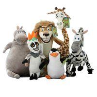 Wholesale Penguin Monkey - Wholesale Madagascar plush toys lion zebra giraffe monkey Penguin hippo 6pcs set children gifts free shipping