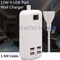 15W 4 puertos de escritorio USB cargador AU US UK plug HUB con cable de 1.5m adaptador de cargador de pared para iphone 6s Samsung S7 iPad HTC Smart Phone