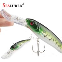 Wholesale Big Crankbait - 1Pcs Big Float Minnow Artificial Plastic Deep Diver Hard Lures Fishing Lure Crankbait with 2 Treble Hooks