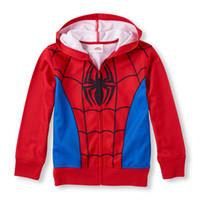 ingrosso cappotti invernali spiderman-4-14Y Long Sleeve Spiderman Full-Zip Felpa con cappuccio ragazzi con cappuccio manteau enfant garcon ragazzo cappotto giacca invernale moda infantil spedizione gratuita