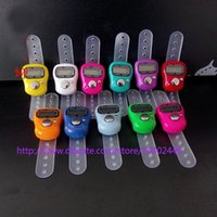 Wholesale Digital Finger Tally Counters - 200pcs lot Mini Hand Hold Handed Band Tally Counter LCD Digital Screen Finger Ring Electronic Head Count Tasbeeh Tasbih DHL free shipping