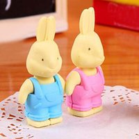 10pcs Cute Little Rabbit Eraser Pencil Eraser borracha Erasers Estudantes Artigos de papelaria Rubber Eco-friendly kid papelaria School Office Supplies