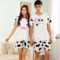Wholesale Sexy Cow Suit - Wholesale- Summer hot Short-sleeved couple costume pajamas suit men and women leisure cows homewear Home clothing Fashion Slim nightclothes