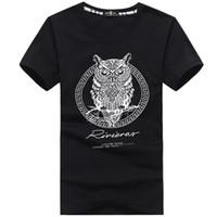 Wholesale Owl Top Men - 2016 Summer Men's Cotton T-Shirt 3D Owl Pattern Printed Tops Fashion Cool Short Sleeve Cotton Causul Men's Tee Shirt