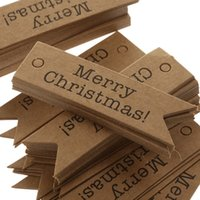 Wholesale Merry Christmas Gift Tags - Wholesale 100pcs Decorative Merry Christmas Paper Gift Tags Label Hanging Cards DIY Home Party Decorations Christmas Accessories
