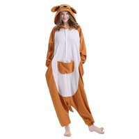 Wholesale Kangaroo Adult Costume - Mejorhome Adult Unisex Animal Pajamas Comfortable Flannel Kangaroo Sleep Costumes Lovely Warm Mascot Costume New Fashion Theme Slumber Part