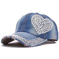 Wholesale Baseball Cap Shape - Baseball caps 2017 fashion style men and women's Sun hat rhinestone hat denim and cotton snapback cap heart shape