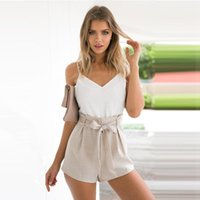 Wholesale Overall Dress Girl - 2018 New Summer white elegant jumpsuit romper Women bow one piece casual play suit Sexy backless short overalls girls