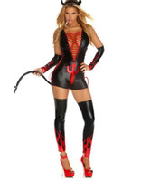 Wholesale Women Sexy Halloween Costumes Devil - Wholesale-Sexy Vinyl Leather Halloween Costume 2016 Woman Sexy Fantasy Devil Jumpsuit Cosplay Costume M, L W84439