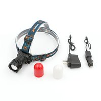 Wholesale Waterproof Led Cree Red - Cree XML-T6 Red LED Headlamp built-in polymer battery Aluminum Outdoor Lanterna 3 mode ultra bright Mini headlights with charger pipe