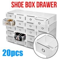 Wholesale Clear Shoe Storage Boxes Drawer - 20pcs Clear Shoe Storage Drawer Cases Boxes Stackable Foldable Home Wardrobe box finishing clear plastic case Boots shoe organizer Rectangle