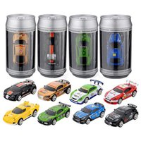 Wholesale Multi Frequency Remote - 24 pcs Mini 1:58 Coke Can RC Car Radio Remote Control Micro Racing Car 4 Frequencies
