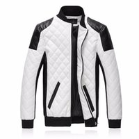 ingrosso uomini di giacca di pelle bianca di marca-Nuovi uomini di marca slim bomber giacche moda casual plaid giacca in pelle pu jaqueta de couro nero bianco plus size 5xl 6xl