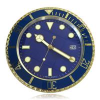 metal, relógios, paredes venda por atacado-Home Decor Relógio de Parede Digital Do Vintage Design Moderno Dourado Completa Relógio De Parede De Metal Verde horloge murale