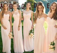 Wholesale Cheap Flowing Prom Dresses - 2016 Pink Navy Cheap Long Bridesmaid Dresses Mixed Neckline Flow Chiffon Summer Blush Bridesmaid Formal Prom Party Dresses with Ruffles