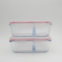 Wholesale Storage Containers Compartments - 1 x 720ml heat resistant glass storage food container with divider Microwave Pyrex Glass Lunch Boxes Compartments Meal box Bento For School