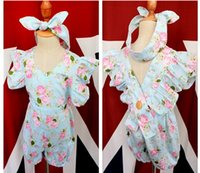 Wholesale Butterfly Bloomers - 2016 INS baby girl infant toddler 2piece outfits floral romper diaper covers bloomers Ruffles Lace + bowknot headband headwrap cotton