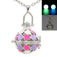 Wholesale Enamel Box Chain Necklace - Enamel Love Heart Locket Box Necklace for Essential Oil Perfume Fragrance Diffuser