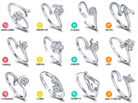 Wholesale Korean Couple Rings 925 - Valentine's Day Gift Zodiac Rings Korean Jewelry 925 Sterling Silver Ring Ms. Retro Ring Opening Adjustable Couple Ring