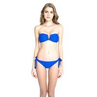 Wholesale V Wire Bandeau - 2016 New Swimwear Bronze Collection - Sapphire Blue Goldtone Metal V Wire Bandeau Top and Adjustable Bottom Bikini Set