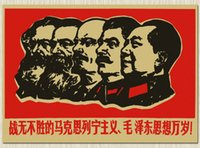 Wholesale Antique Chalkboards - Multi-style Large Vintage Chinese Cultural Revolution Poster Home Decoration Detailed Antique Poster Wall Chart Retro Matte Kraft Paper A1