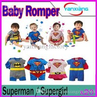 DHL 20PCS Neonata Boy Superman pagliaccetto Baby Dress grembiule mantello del bambino infante Costume YX-HY-02