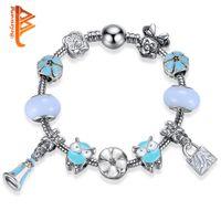 Wholesale Owl Bead Enamel - BELAWANG Blue Charm Bracelets&Bangles with Enamel Owl Flower shape Beads Silver Plated Snake Chain Bracelet for Women Jewelry Free Shipping