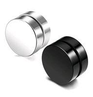 панк поддельные серьги оптовых-Панк поддельные мужские серьги стержня черный серебряный магнит из нержавеющей стали круглый уха клип для мужчин размер смеси 6 мм 10 мм 12 мм