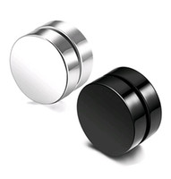 ingrosso borchie orecchie punk nere-Punk Fake Mens Orecchini Black Silver Stainless Steel Magnet Round Ear Clip per uomo Mix size 6mm 10mm 12mm