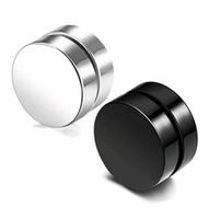 erkekler için siyah kulak saplamaları toptan satış-Punk Sahte Erkek Damızlık Küpe Siyah Gümüş Paslanmaz Çelik Mıknatıs Yuvarlak Kulak Klip Erkekler için Mix boyutu 6mm 10mm 12mm