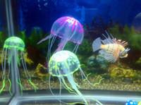 tanque de medusas artificial al por mayor-6 Opcional 8 cm * 20 cm Artificial Que brilla intensamente Medusas con Lechón Tanque de Peces Decoración Del Acuario Accesorios de Acuario Accesorios